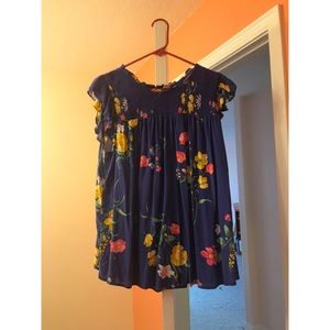 Old Navy Blue Floral Short Sleeve Top, Size 2X